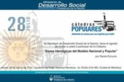 """Cátedra popular: """"Bases ideológicas del modelo nacional y popular"""""""