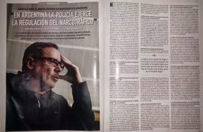 """Sain: """"En Argentina la policía ejerce la regulación del narcotráfico"""""""