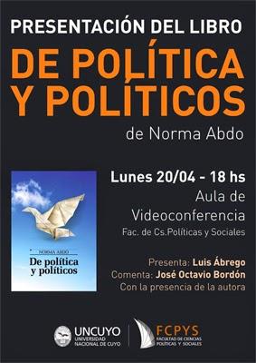 Presentación del libro «De política y políticos» de Norma Abdo