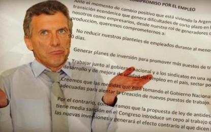 Empresas que firmaron el acuerdo con Macri ahora anuncian despidos