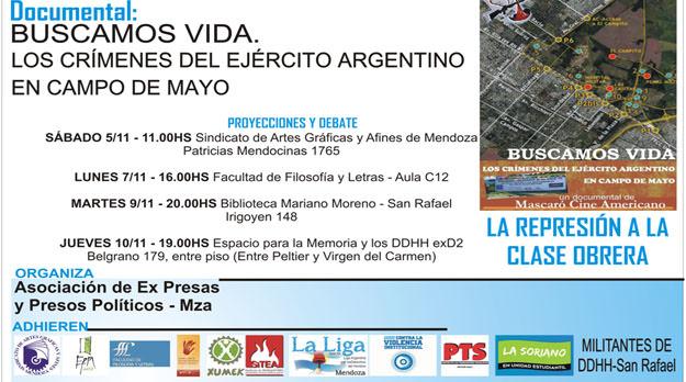 """Proyección y debate del documental """" Buscamos Vida. Los crímenes del Ejercito Argentino en Campo de Mayo"""""""