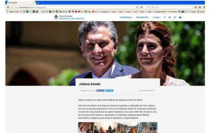 Awada publicita su marca de ropa en la web… de la Casa Rosada