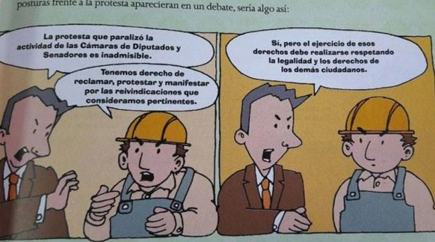 """Manuales escolares de Macri """"educan"""" contra el derecho a huelga de los trabajadores"""