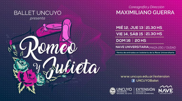 """El Ballet UNCuyo presenta """"Romeo y Julieta"""" con la dirección de Maximiliano Guerra"""
