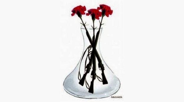 Si no se van… los echamos a patadas… o con una flor y el fusil